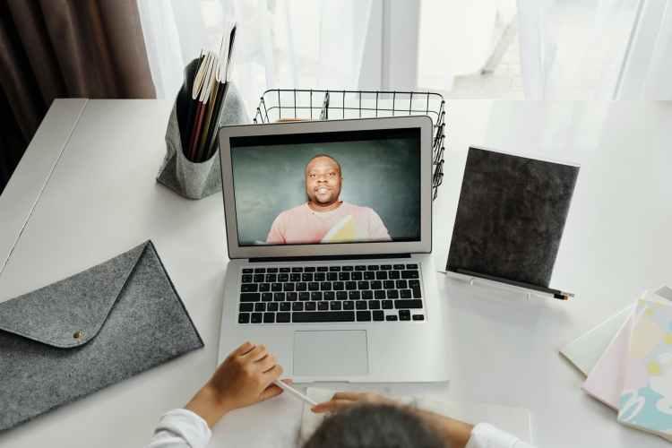 person talking classes online