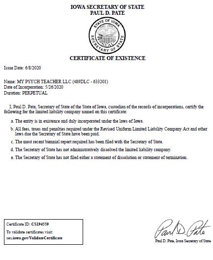 CertificateOfExistence_MyPsychTeacherLLC